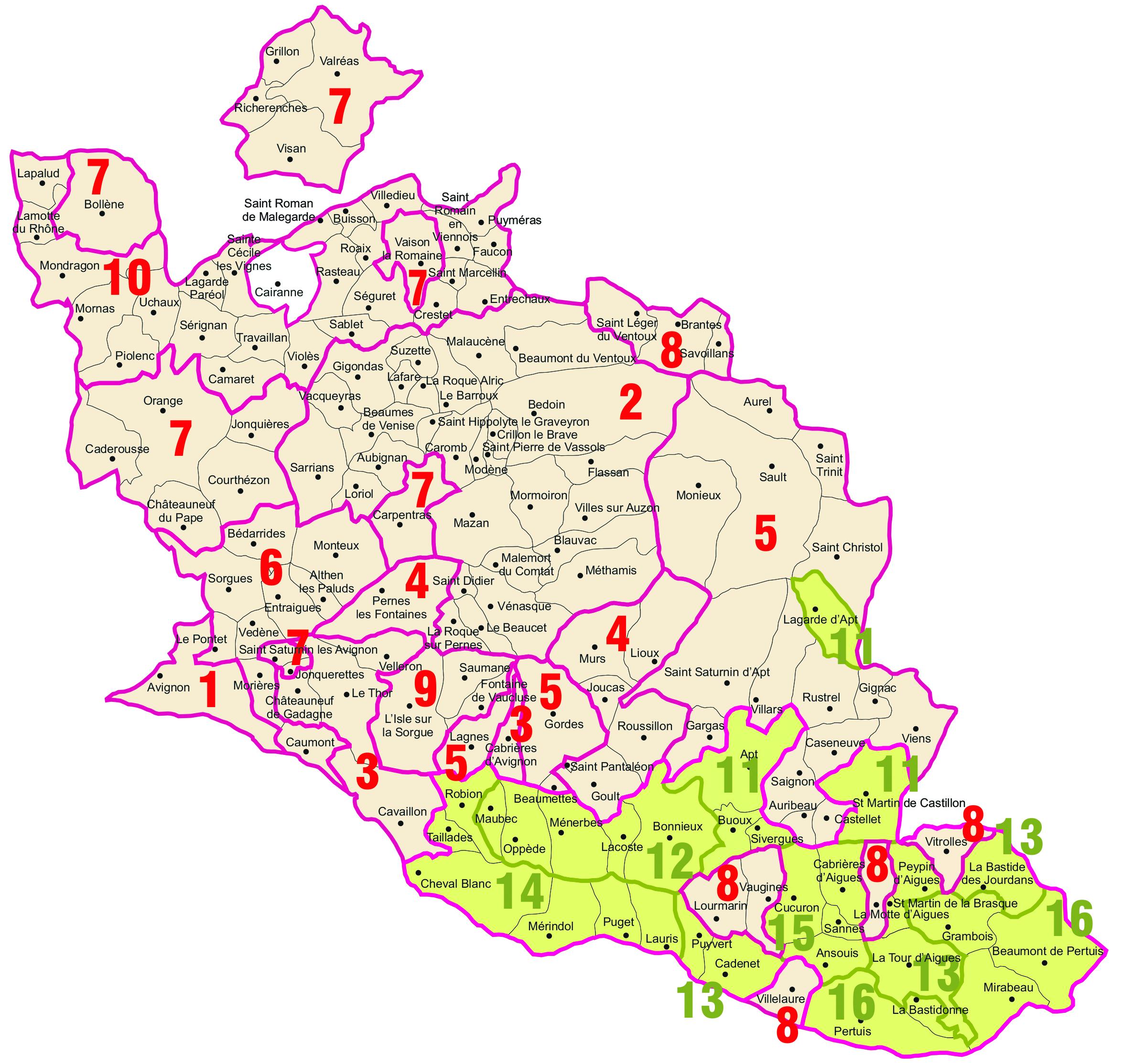 Carte des secteurs, assistance architecturale, janvier 2021